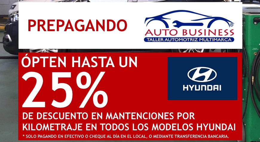 Prepaga tu mantención por kilometraje en Auto Business y ópten un 25% de descuento
